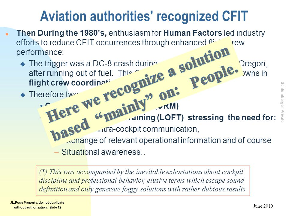 Schlumberger Private June 2010 JL.Pous Property, do not duplicate without authorization. Slide 12 Aviation authorities' recognized CFIT n Then During