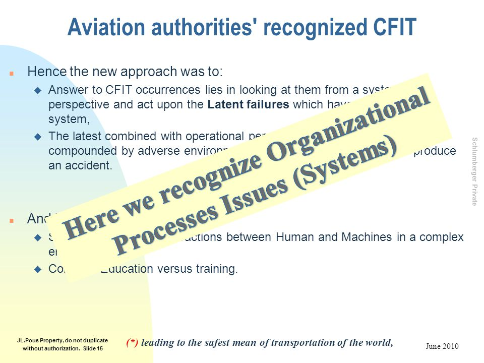 Schlumberger Private June 2010 JL.Pous Property, do not duplicate without authorization. Slide 15 Aviation authorities' recognized CFIT n Hence the ne