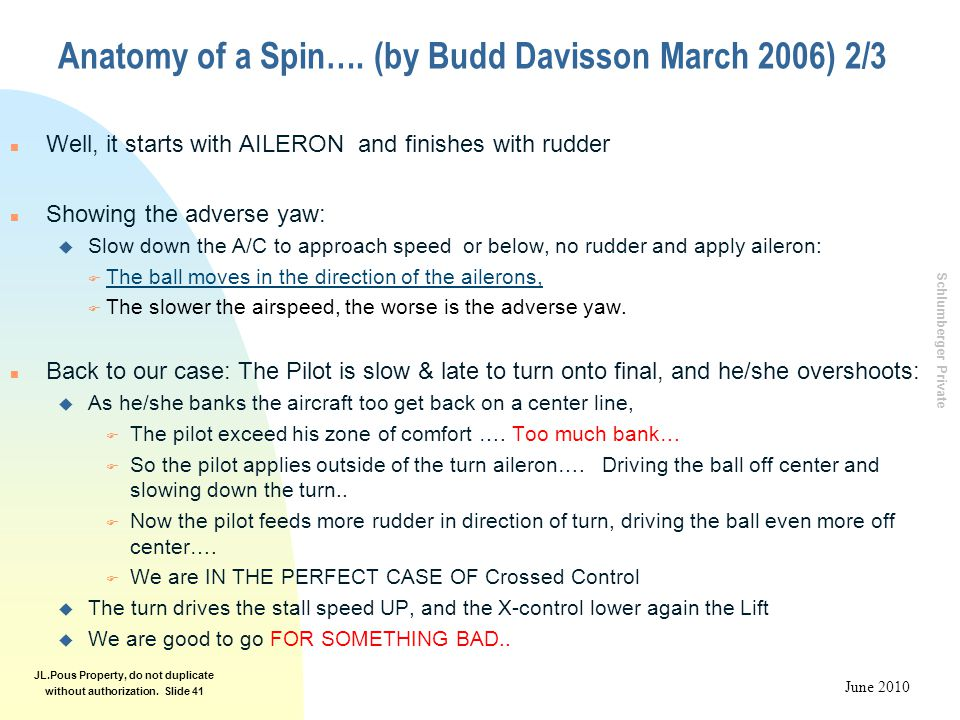 Schlumberger Private June 2010 JL.Pous Property, do not duplicate without authorization. Slide 41 Anatomy of a Spin…. (by Budd Davisson March 2006) 2/