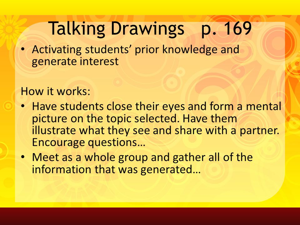 Talking Drawings p. 169 Activating students' prior knowledge and generate interest How it works: Have students close their eyes and form a mental pict