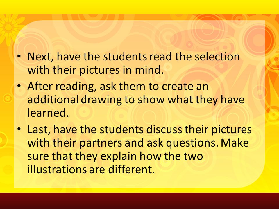 Next, have the students read the selection with their pictures in mind.