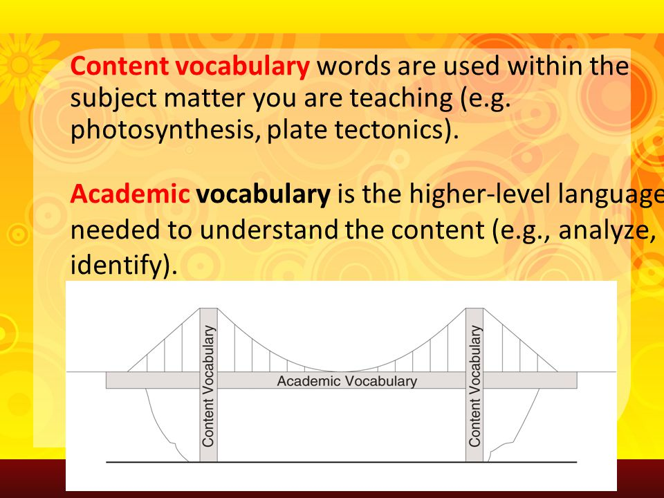 Content vocabulary words are used within the subject matter you are teaching (e.g. photosynthesis, plate tectonics). Academic vocabulary is the higher