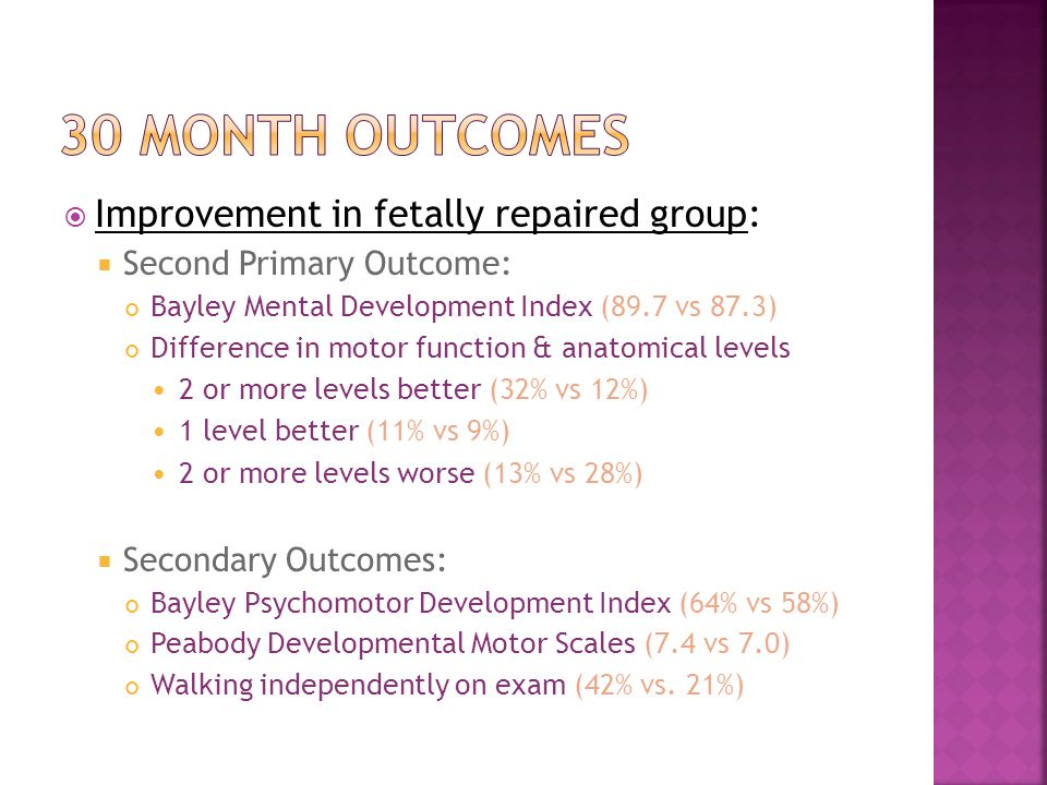  Improvement in fetally repaired group:  Second Primary Outcome: Bayley Mental Development Index (89.7 vs 87.3) Difference in motor function & anatomical levels 2 or more levels better (32% vs 12%) 1 level better (11% vs 9%) 2 or more levels worse (13% vs 28%)  Secondary Outcomes: Bayley Psychomotor Development Index (64% vs 58%) Peabody Developmental Motor Scales (7.4 vs 7.0) Walking independently on exam (42% vs.
