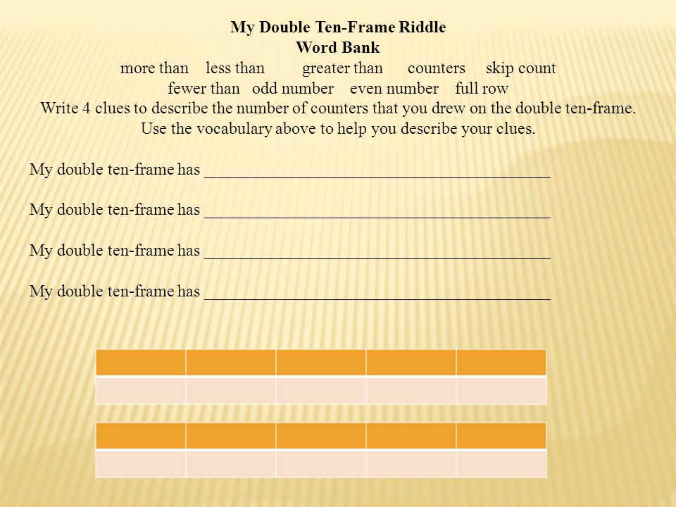 My Double Ten-Frame Riddle Word Bank more than less than greater than counters skip count fewer than odd number even number full row Write 4 clues to describe the number of counters that you drew on the double ten-frame.