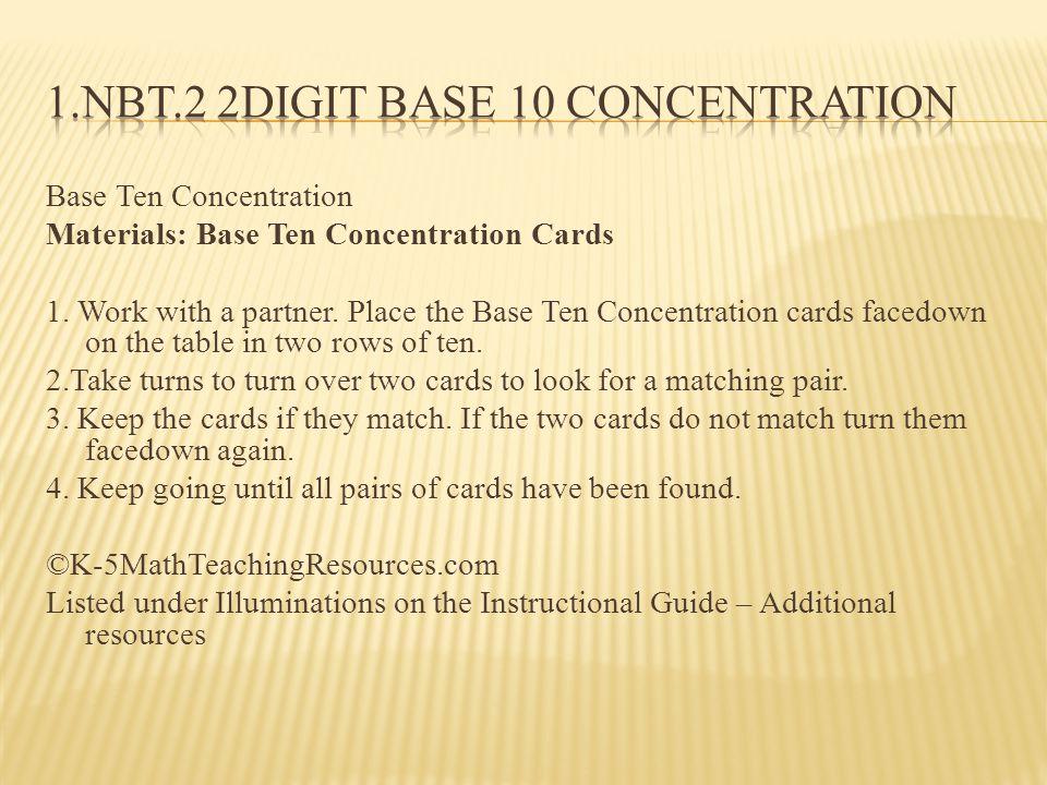 Base Ten Concentration Materials: Base Ten Concentration Cards 1.