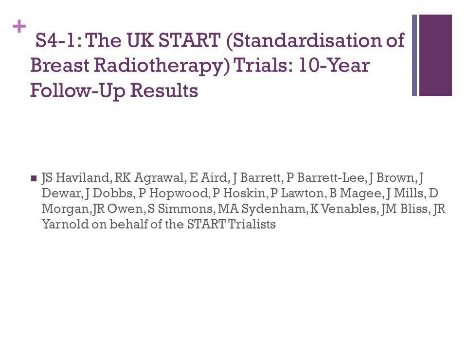 + S4-1: The UK START (Standardisation of Breast Radiotherapy) Trials: 10-Year Follow-Up Results JS Haviland, RK Agrawal, E Aird, J Barrett, P Barrett-