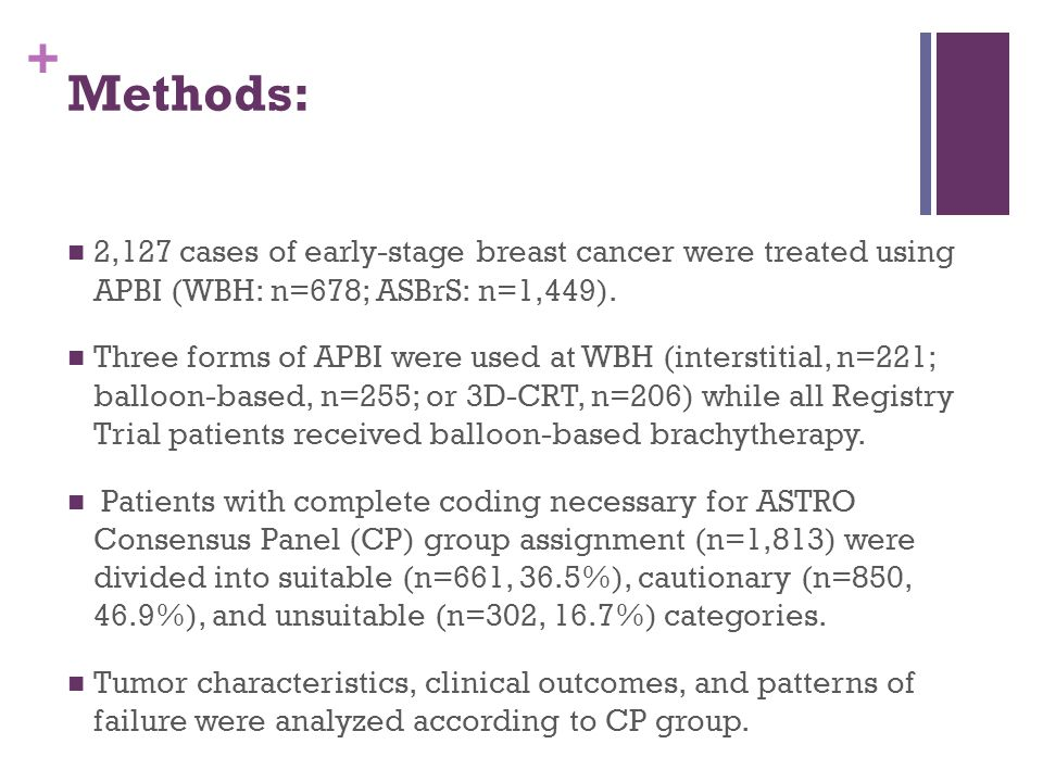 + Methods: 2,127 cases of early-stage breast cancer were treated using APBI (WBH: n=678; ASBrS: n=1,449). Three forms of APBI were used at WBH (inters