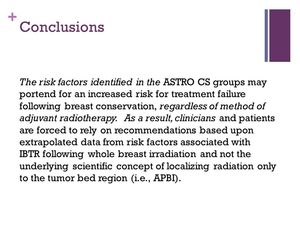 + Conclusions The risk factors identified in the ASTRO CS groups may portend for an increased risk for treatment failure following breast conservation, regardless of method of adjuvant radiotherapy.