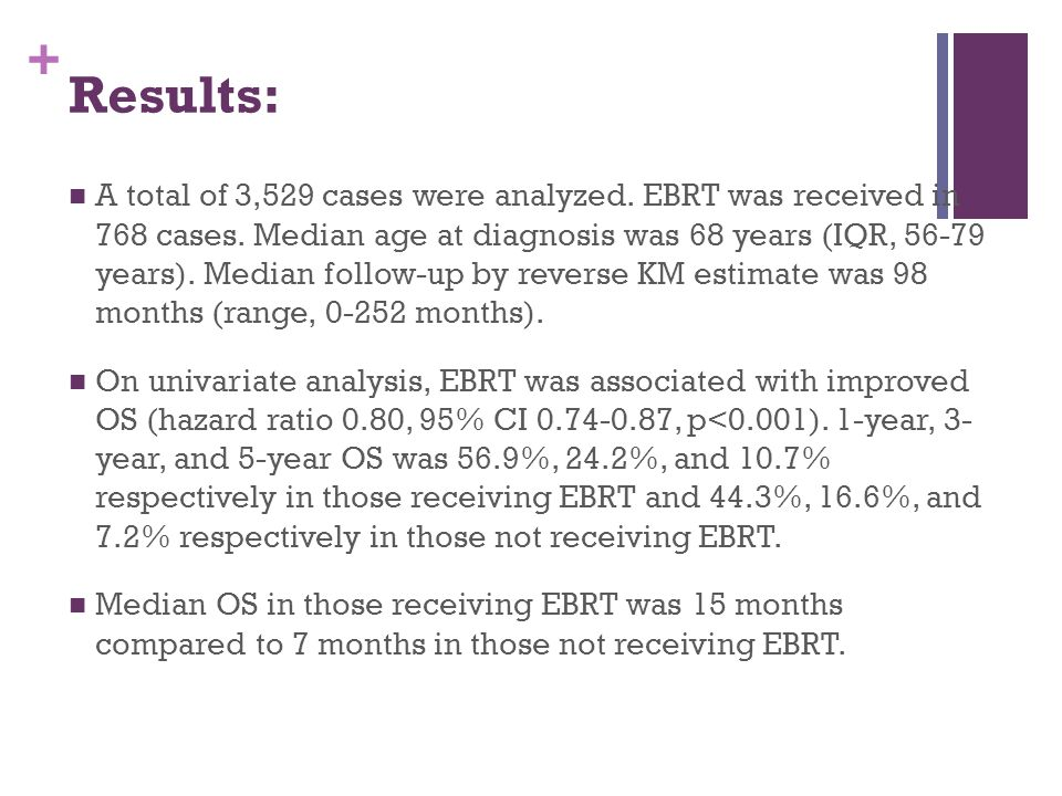 + Results: A total of 3,529 cases were analyzed. EBRT was received in 768 cases. Median age at diagnosis was 68 years (IQR, 56-79 years). Median follo