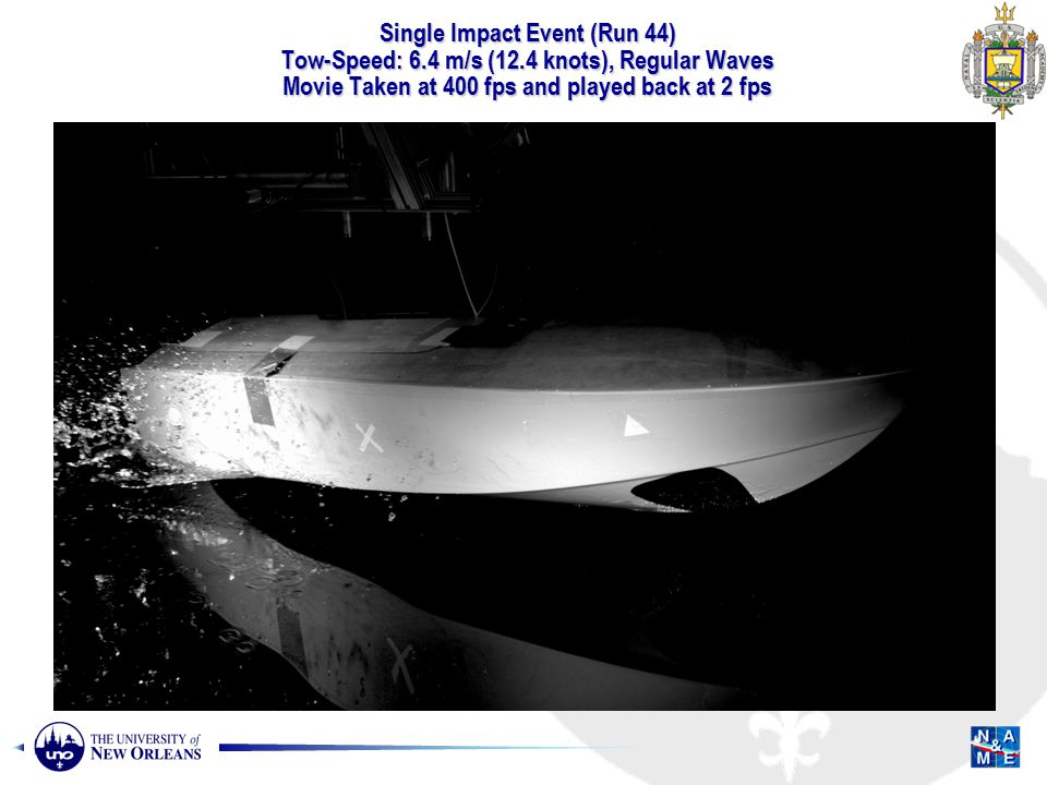 Single Impact Event (Run 44) Tow-Speed: 6.4 m/s (12.4 knots), Regular Waves Movie Taken at 400 fps and played back at 2 fps