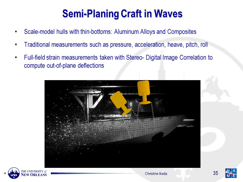 Semi-Planing Craft in Waves Scale-model hulls with thin-bottoms: Aluminum Alloys and Composites Traditional measurements such as pressure, acceleration, heave, pitch, roll Full-field strain measurements taken with Stereo- Digital Image Correlation to compute out-of-plane deflections Christine Ikeda 35
