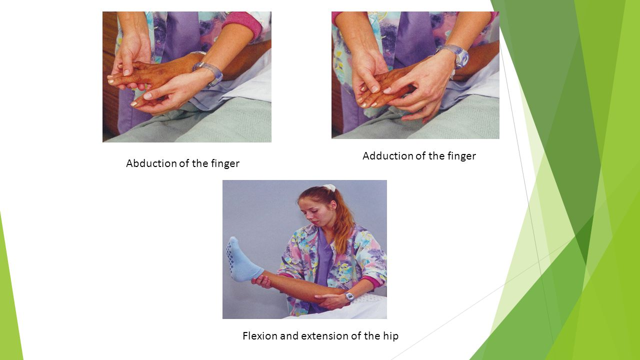 Adduction of the finger Abduction of the finger Flexion and extension of the hip
