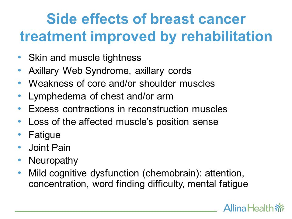 Side effects of breast cancer treatment improved by rehabilitation Skin and muscle tightness Axillary Web Syndrome, axillary cords Weakness of core an
