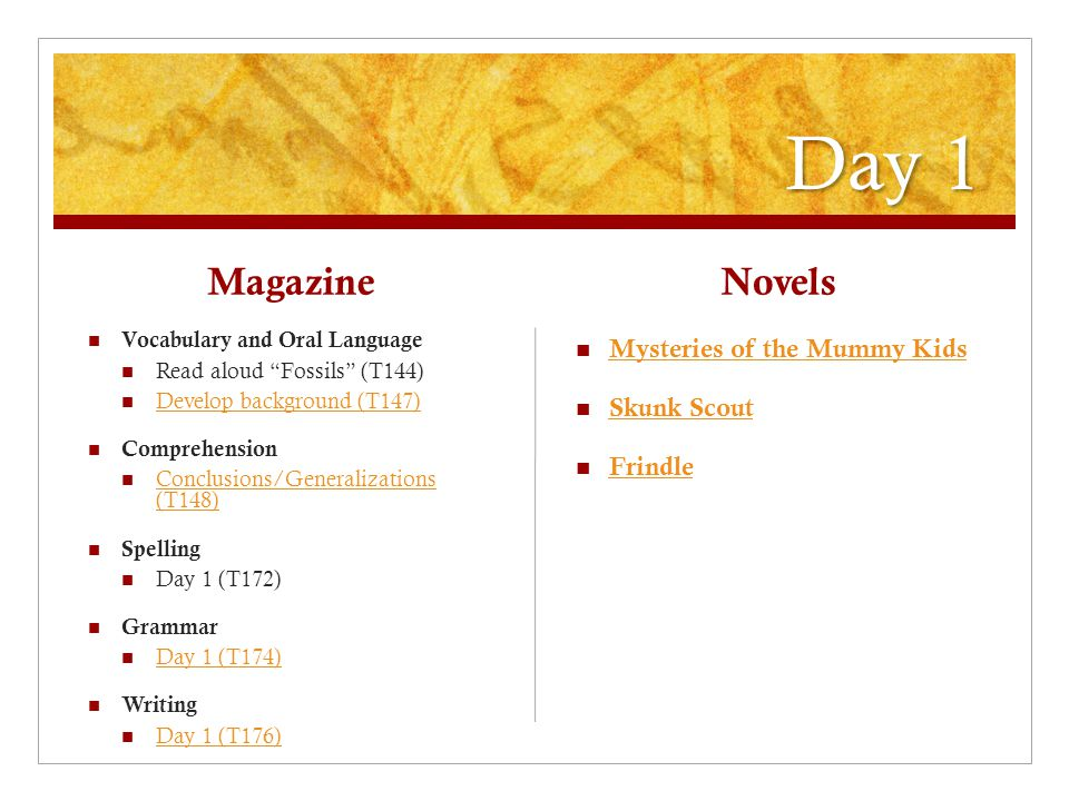 Day 1 Magazine Vocabulary and Oral Language Read aloud Fossils (T144) Develop background (T147) Comprehension Conclusions/Generalizations (T148) Conclusions/Generalizations (T148) Spelling Day 1 (T172) Grammar Day 1 (T174) Writing Day 1 (T176) Novels Mysteries of the Mummy Kids Skunk Scout Frindle