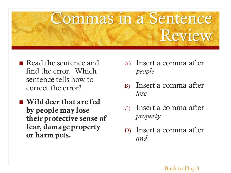 Commas in a Sentence Review Read the sentence and find the error.