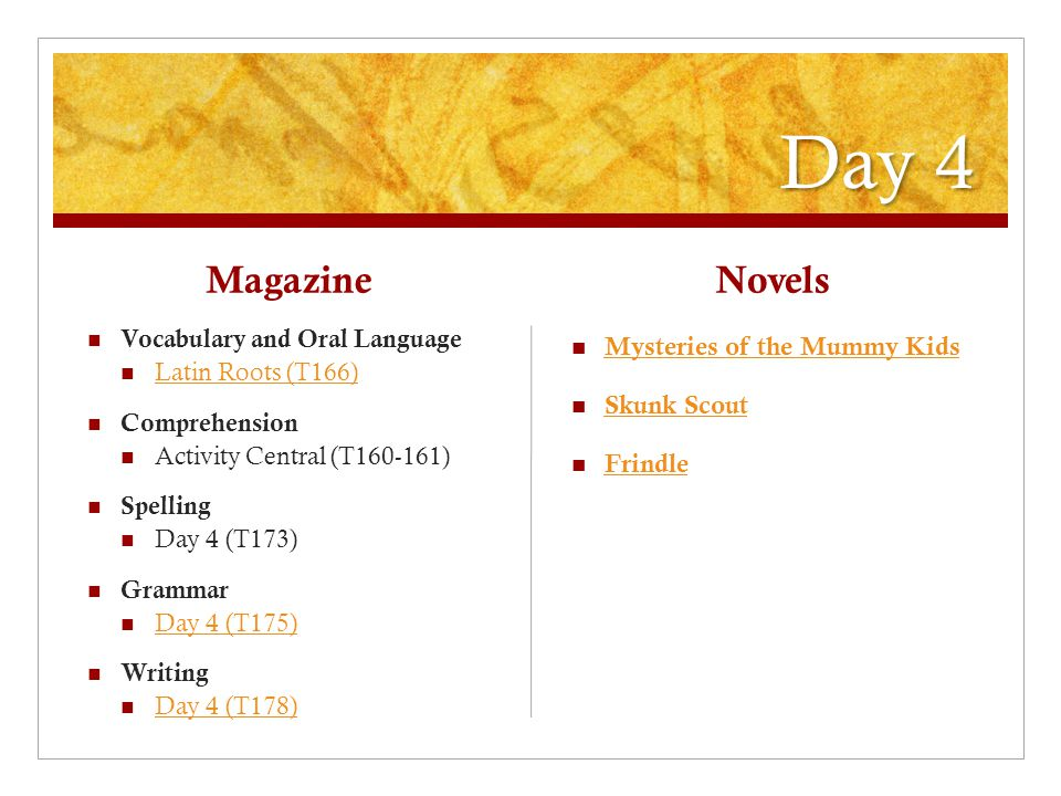 Day 4 Magazine Vocabulary and Oral Language Latin Roots (T166) Comprehension Activity Central (T160-161) Spelling Day 4 (T173) Grammar Day 4 (T175) Writing Day 4 (T178) Novels Mysteries of the Mummy Kids Skunk Scout Frindle
