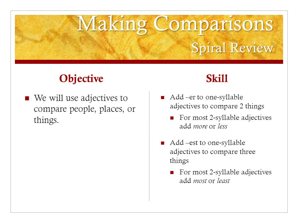 Making Comparisons Spiral Review Objective We will use adjectives to compare people, places, or things.