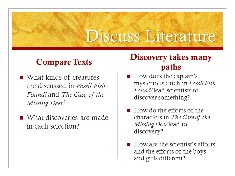 Discuss Literature Compare Texts What kinds of creatures are discussed in Fossil Fish Found.