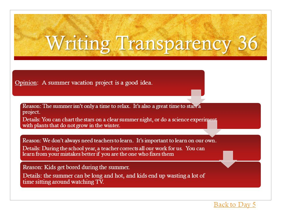 Writing Transparency 36 Opinion: A summer vacation project is a good idea.