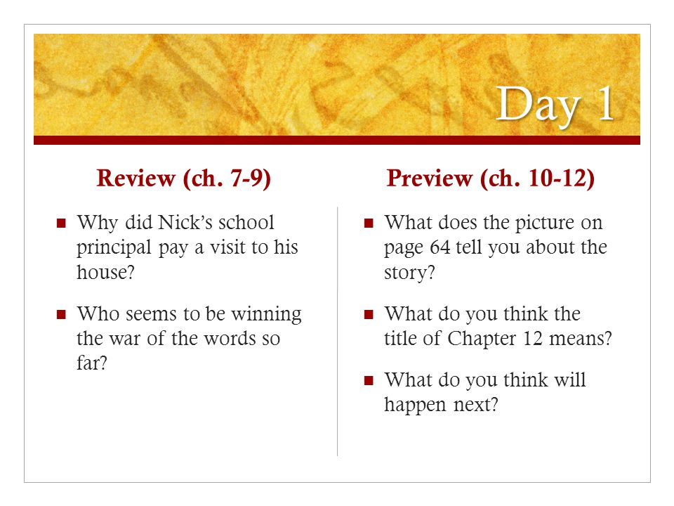 Day 1 Review (ch. 7-9) Why did Nick's school principal pay a visit to his house.