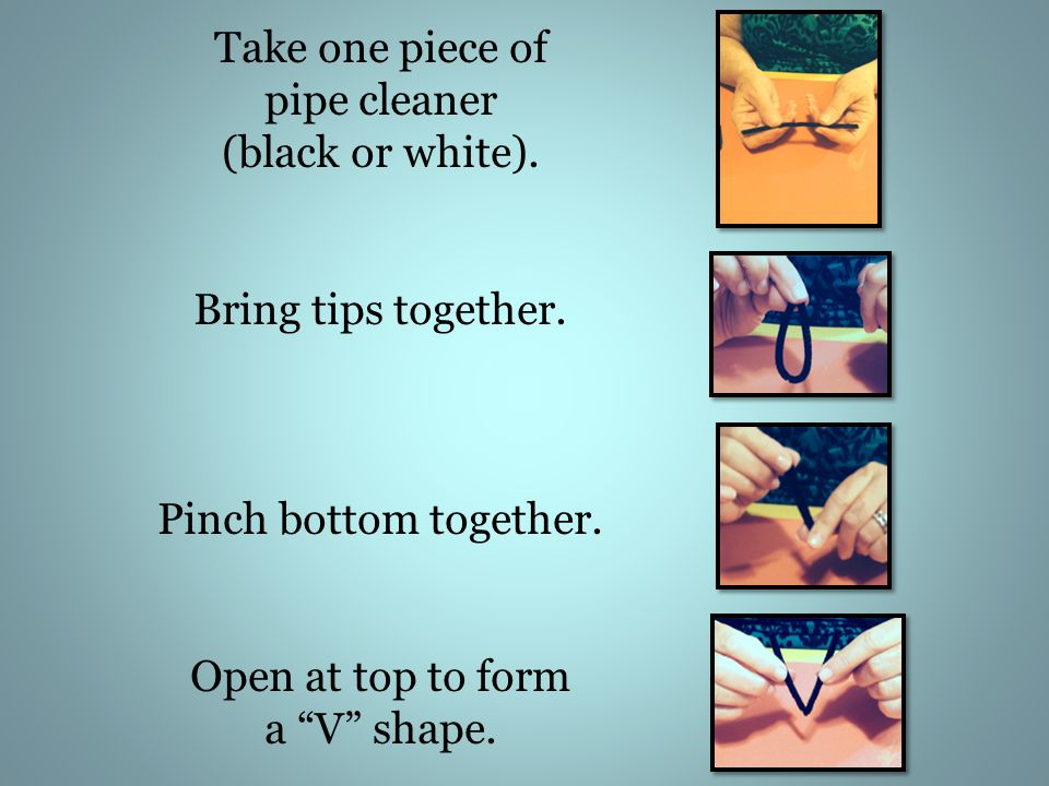 Take one piece of pipe cleaner (black or white). Bring tips together.