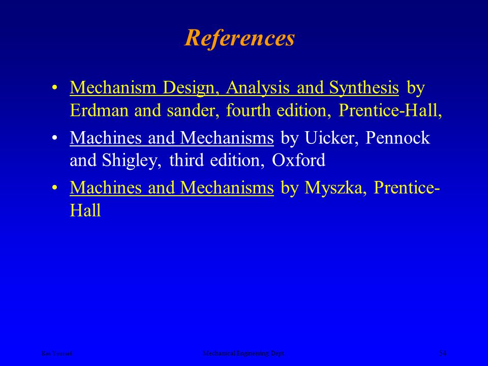 Ken Youssefi Mechanical Engineering Dept. 53 Type of Motion and Mechanisms Rotation to Translation