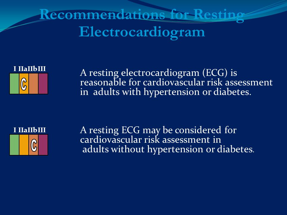 A resting electrocardiogram (ECG) is reasonable for cardiovascular risk assessment in adults with hypertension or diabetes.