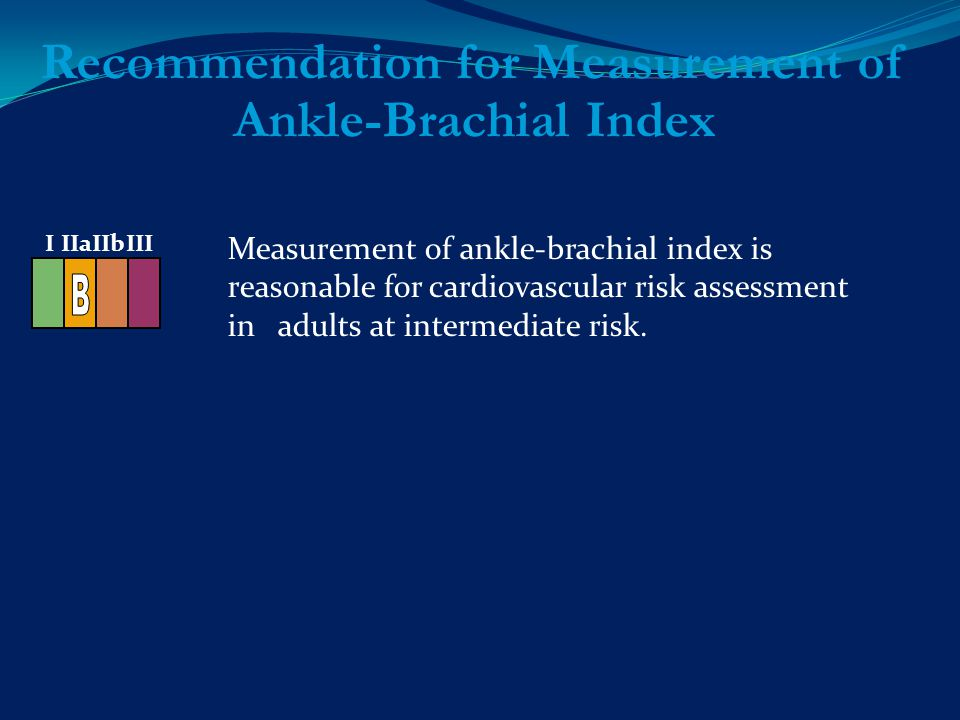 Measurement of ankle-brachial index is reasonable for cardiovascular risk assessment in adults at intermediate risk.