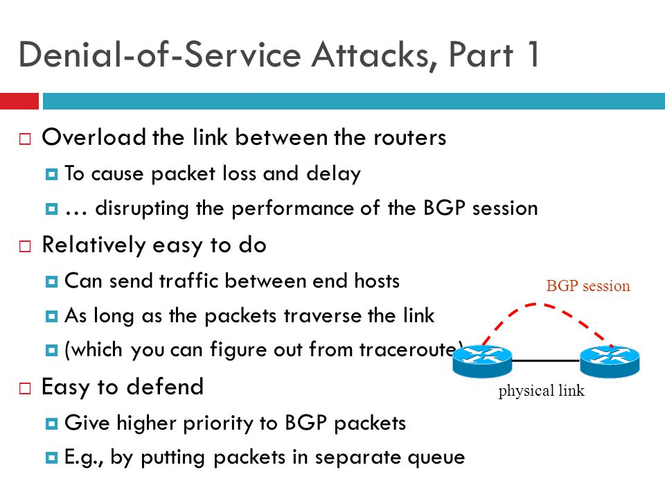 27 Denial-of-Service Attacks, Part 1  Overload the link between the routers  To cause packet loss and delay  … disrupting the performance of the BG