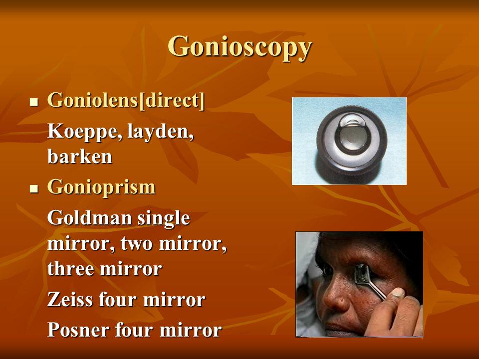 Gonioscopy Goniolens[direct] Goniolens[direct] Koeppe, layden, barken Gonioprism Gonioprism Goldman single mirror, two mirror, three mirror Zeiss four