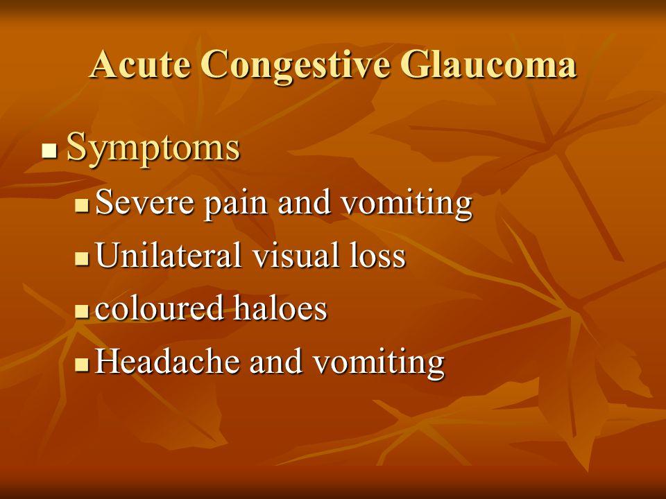 Acute Congestive Glaucoma Symptoms Symptoms Severe pain and vomiting Severe pain and vomiting Unilateral visual loss Unilateral visual loss coloured h