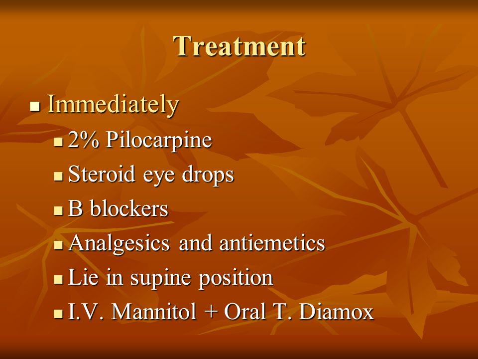 Treatment Immediately Immediately 2% Pilocarpine 2% Pilocarpine Steroid eye drops Steroid eye drops Β blockers Β blockers Analgesics and antiemetics A