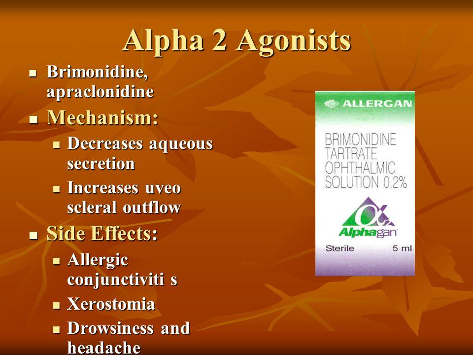 Alpha 2 Agonists Brimonidine, apraclonidine Brimonidine, apraclonidine Mechanism: Mechanism: Decreases aqueous secretion Decreases aqueous secretion I