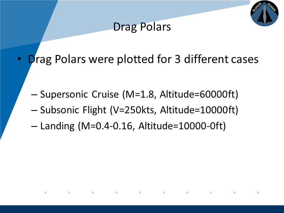 Company LOGO www.company.com Drag Polars Drag Polars were plotted for 3 different cases – Supersonic Cruise (M=1.8, Altitude=60000ft) – Subsonic Flight (V=250kts, Altitude=10000ft) – Landing (M=0.4-0.16, Altitude=10000-0ft)