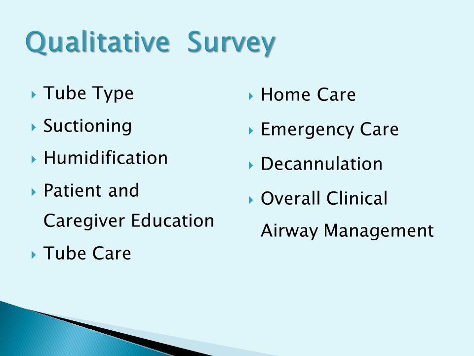 Qualitative Survey  Tube Type  Suctioning  Humidification  Patient and Caregiver Education  Tube Care  Home Care  Emergency Care  Decannulatio