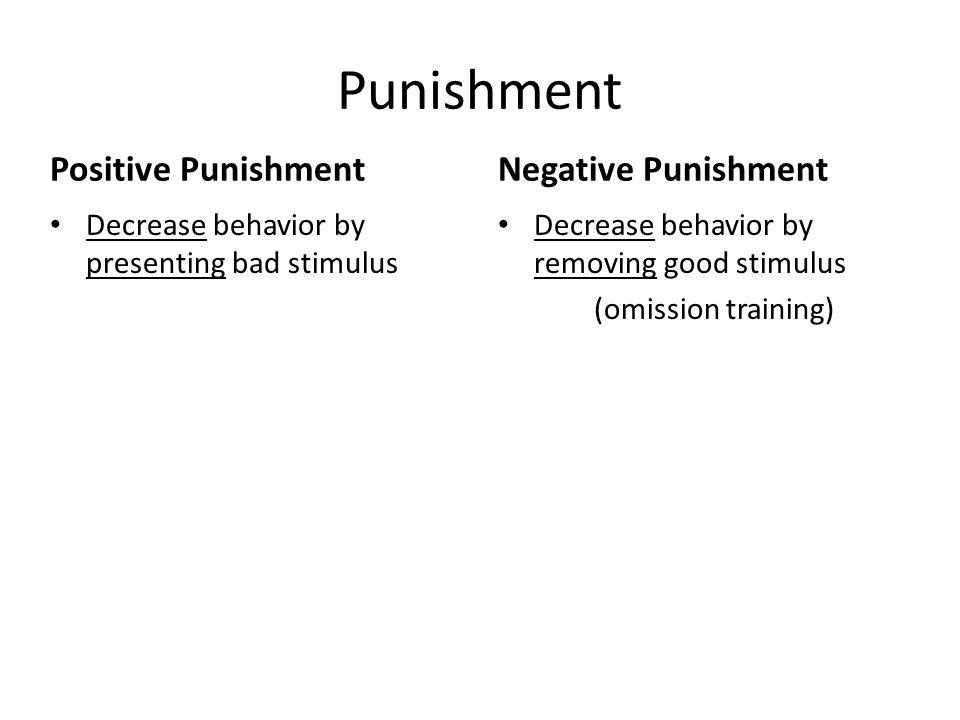 Punishment Positive Punishment Decrease behavior by presenting bad stimulus Negative Punishment Decrease behavior by removing good stimulus (omission training)