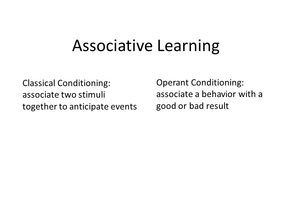 Associative Learning Classical Conditioning: associate two stimuli together to anticipate events Operant Conditioning: associate a behavior with a good or bad result
