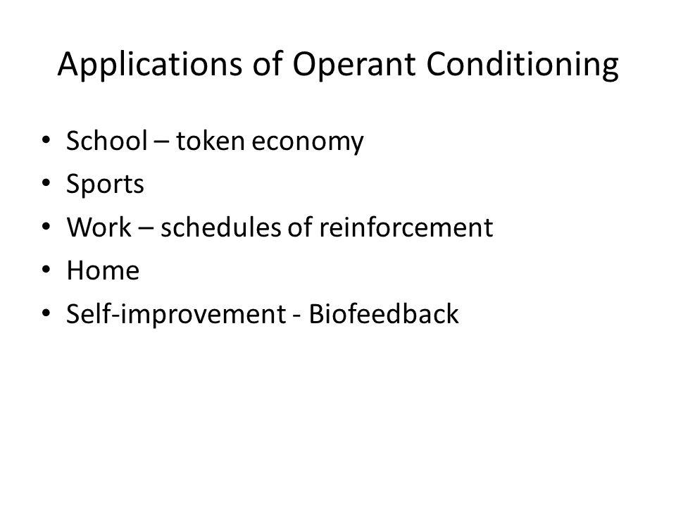 Applications of Operant Conditioning School – token economy Sports Work – schedules of reinforcement Home Self-improvement - Biofeedback