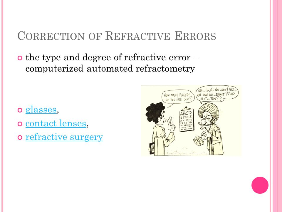 C ORRECTION OF R EFRACTIVE E RRORS the type and degree of refractive error – computerized automated refractometry glassesglasses, contact lensescontac