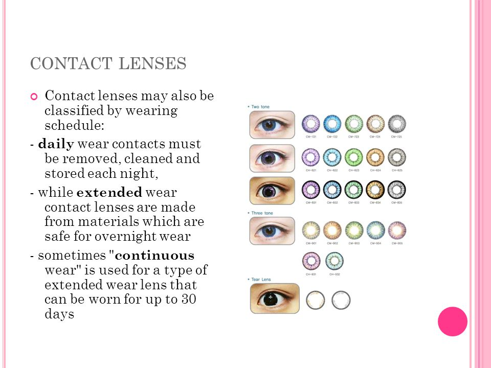 CONTACT LENSES Contact lenses may also be classified by wearing schedule: - daily wear contacts must be removed, cleaned and stored each night, - whil