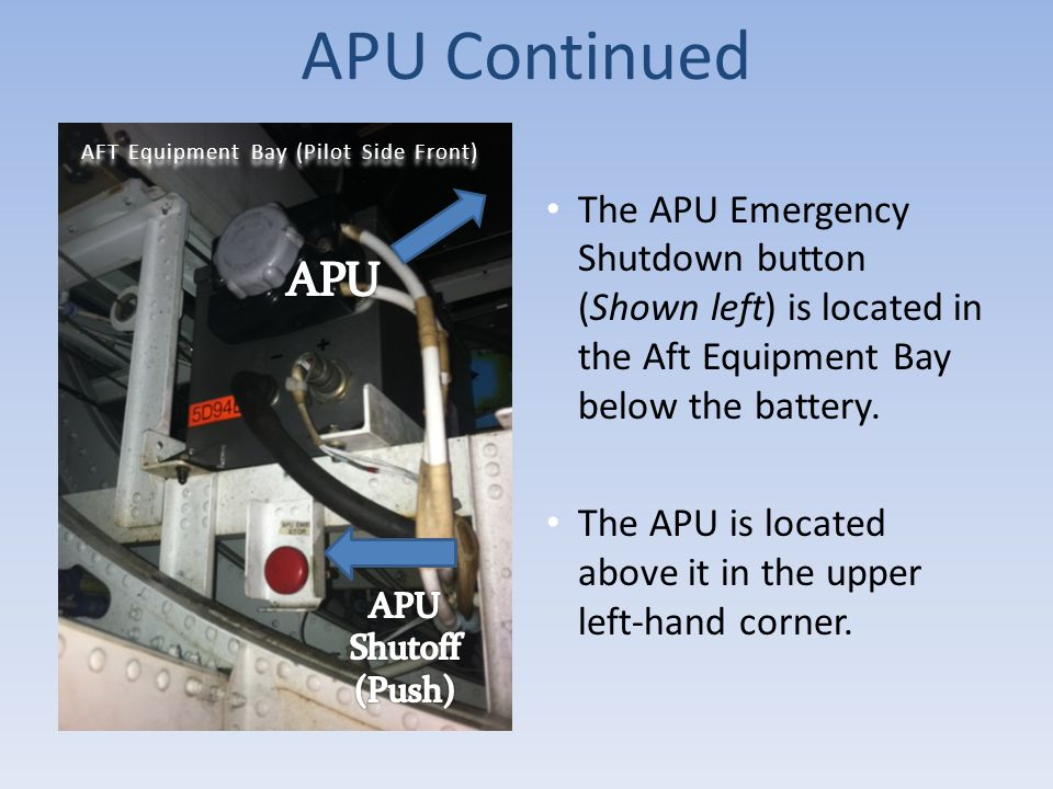 APU Continued The APU Emergency Shutdown button (Shown left) is located in the Aft Equipment Bay below the battery. The APU is located above it in the