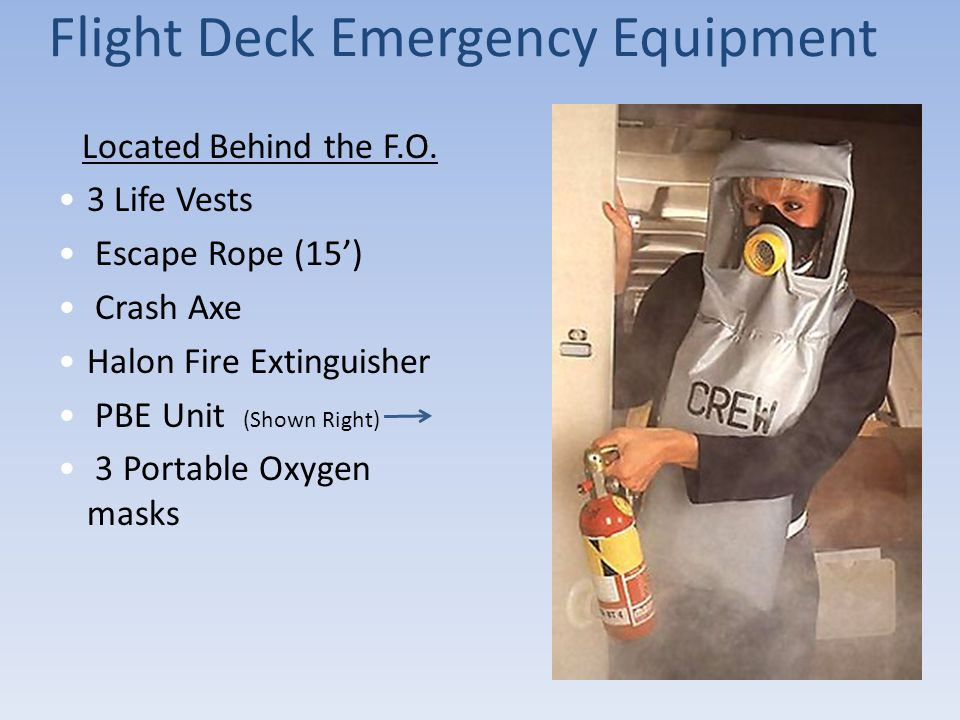 Flight Deck Emergency Equipment Located Behind the F.O. 3 Life Vests Escape Rope (15') Crash Axe Halon Fire Extinguisher PBE Unit (Shown Right) 3 Port