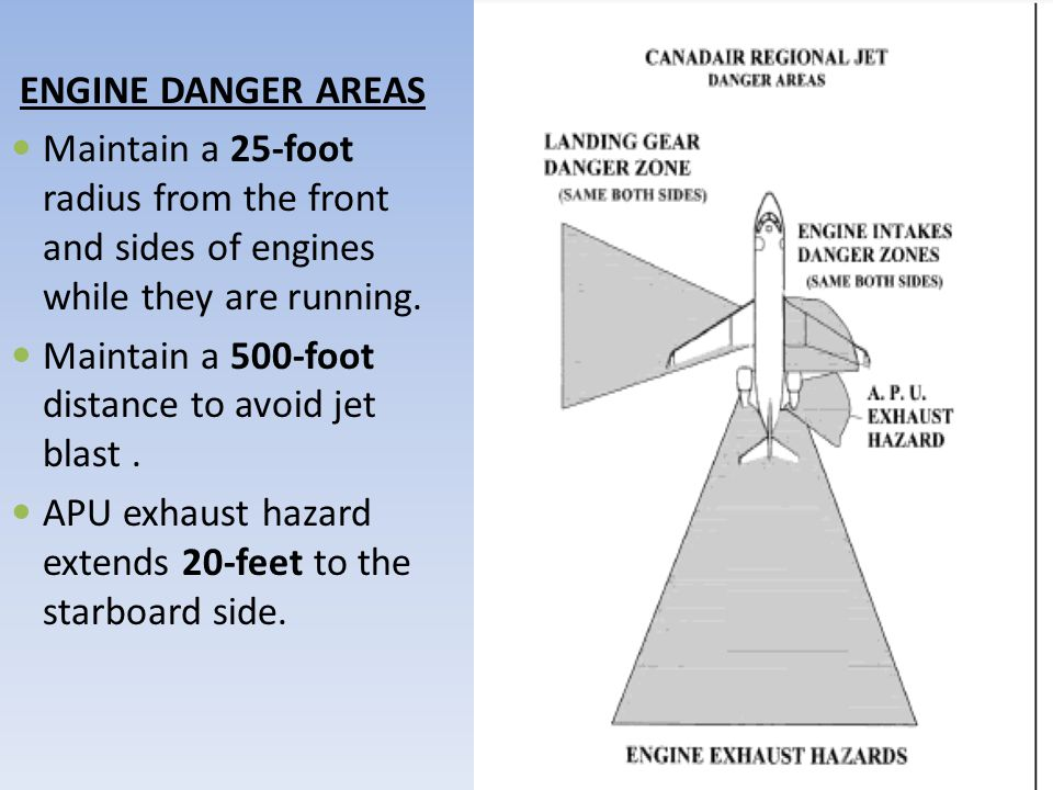 ENGINE DANGER AREAS Maintain a 25-foot radius from the front and sides of engines while they are running. Maintain a 500-foot distance to avoid jet bl