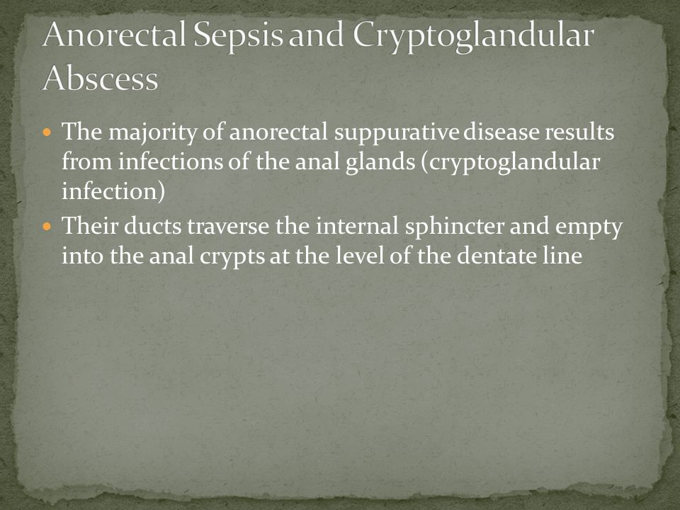 The majority of anorectal suppurative disease results from infections of the anal glands (cryptoglandular infection) Their ducts traverse the internal sphincter and empty into the anal crypts at the level of the dentate line