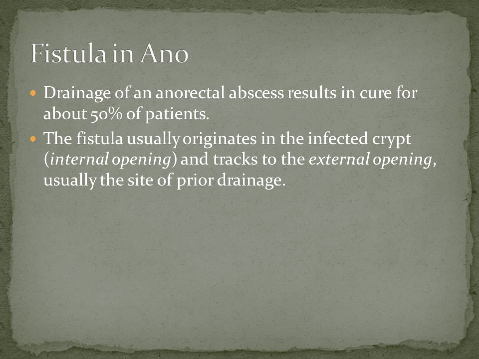 Drainage of an anorectal abscess results in cure for about 50% of patients.