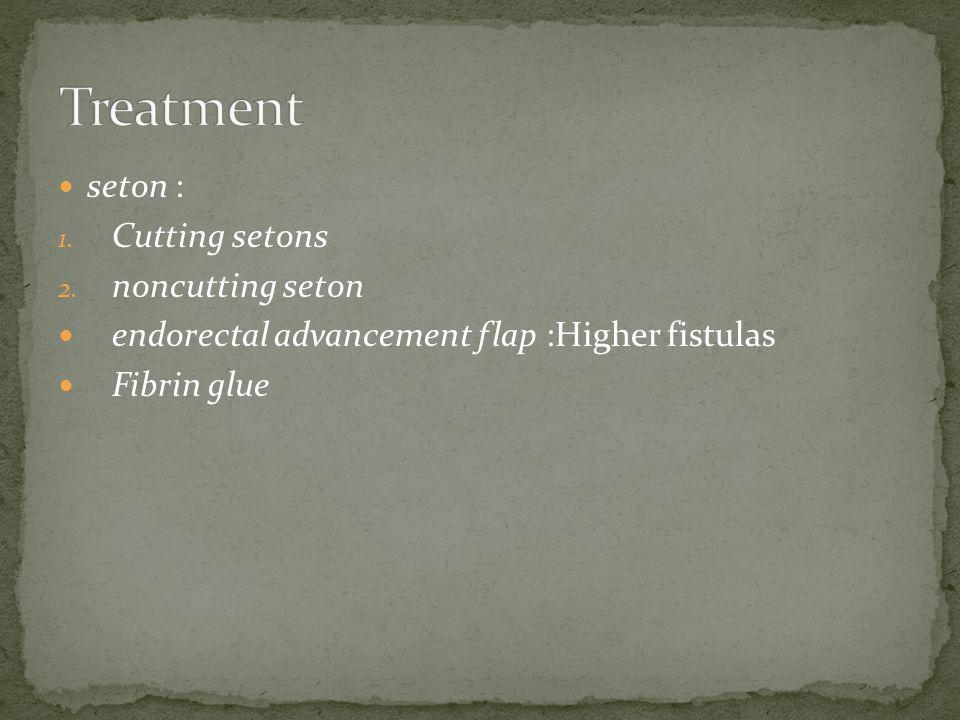 seton : 1. Cutting setons 2. noncutting seton endorectal advancement flap :Higher fistulas Fibrin glue