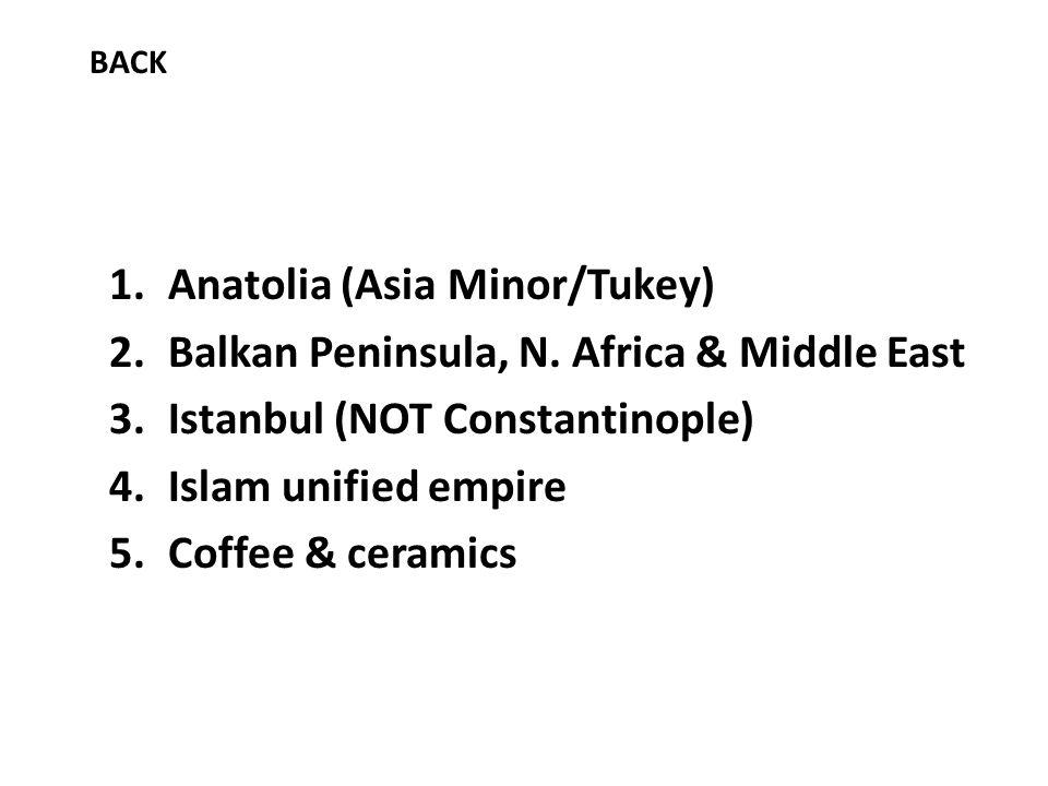1.Anatolia (Asia Minor/Tukey) 2.Balkan Peninsula, N.