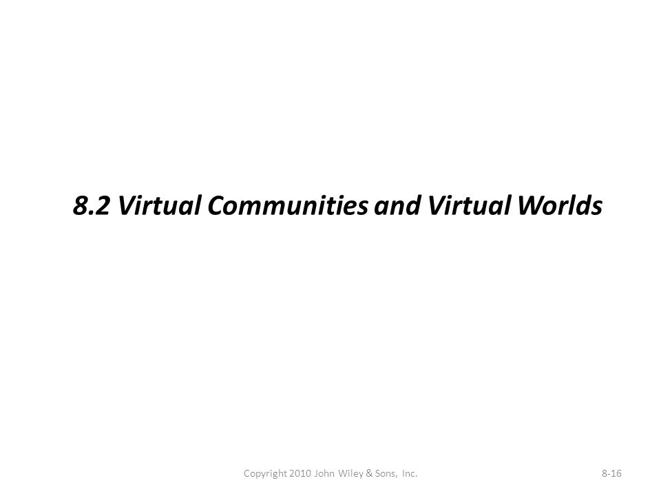 Copyright 2010 John Wiley & Sons, Inc.8-16 8.2 Virtual Communities and Virtual Worlds