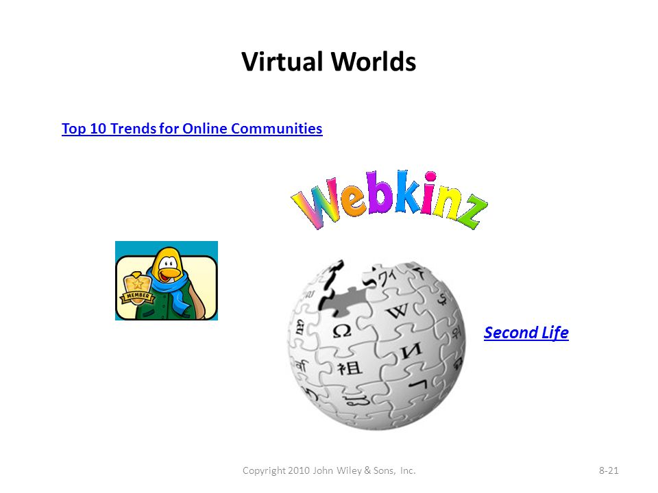 Virtual Worlds Copyright 2010 John Wiley & Sons, Inc.8-21 Top 10 Trends for Online Communities Second Life