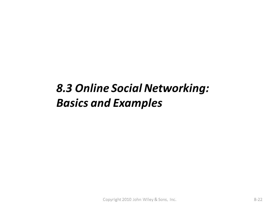 Copyright 2010 John Wiley & Sons, Inc.8-22 8.3 Online Social Networking: Basics and Examples